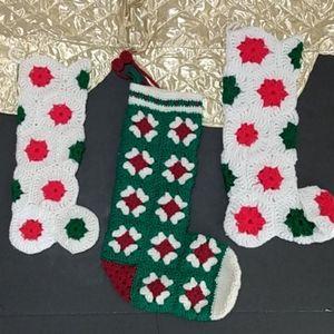Vintage Crochet Afghan Christmas Stockings
